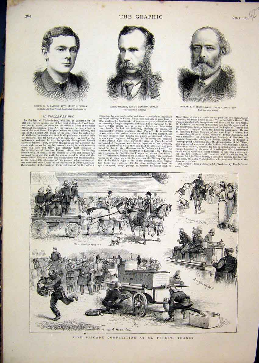 Print 1879 Fire Brigade Competition Peter Thanet Marter Guard 27Mar1 Old Original