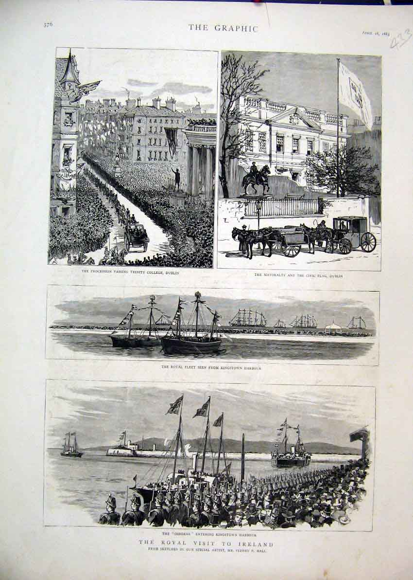 Print 1885 Royal Visit Ireland Osborne Trinity College Civic 33Mar1 Old Original