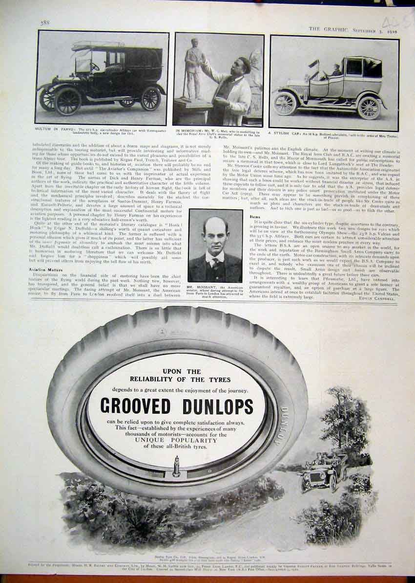 Print 1910 Advert Dunlop Grooved Tyres Moissant Bedford Car 45Mar1 Old Original