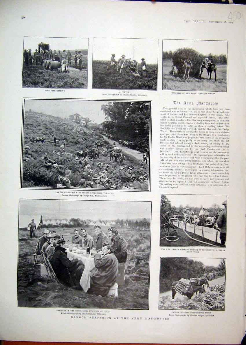 Print 1903 Photographs Army Manoeuvres Pompom Fusiliers Lunch 50Mar1 Old Original