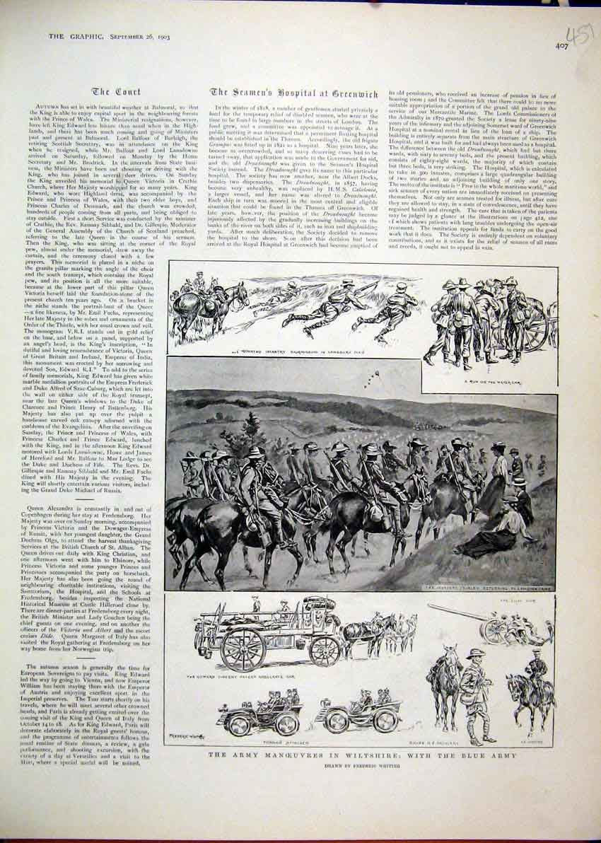 Print Army Manoeuvres Wiltshire Blue 1903 Ambulance Car Horse 51Mar1 Old Original