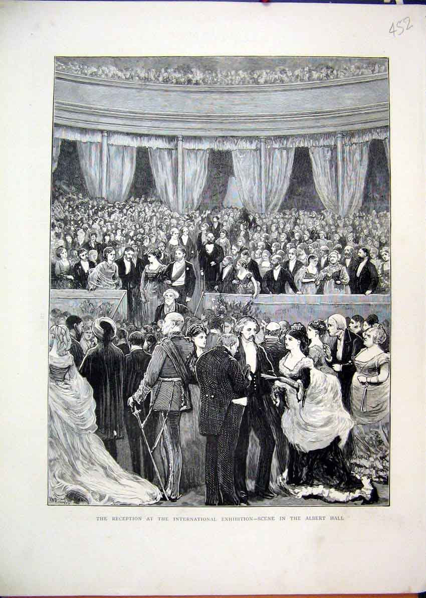Print 1872 Reception International Exhibition Albert Hall 52Mar1 Old Original
