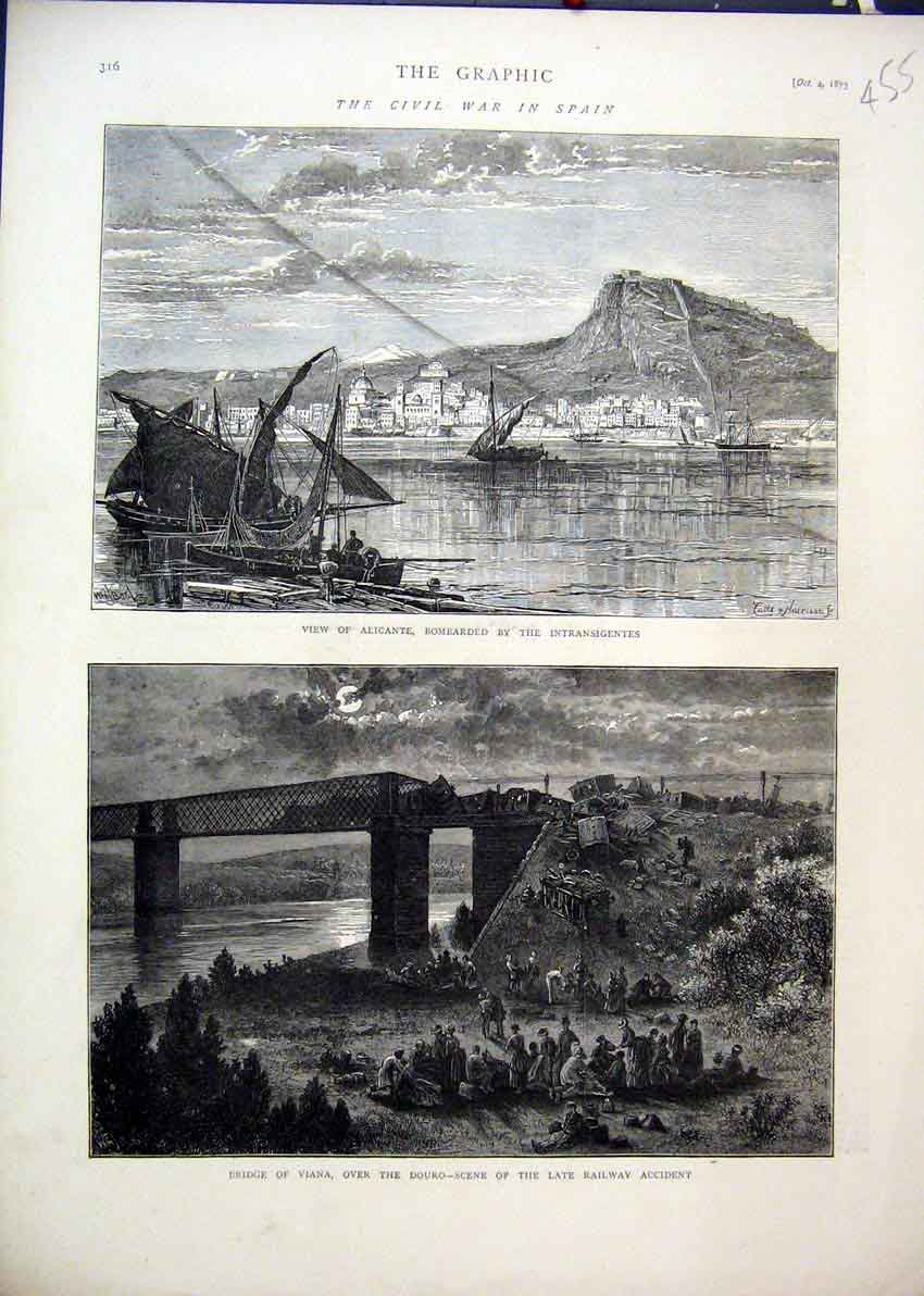Print 1873 Civil War Spain Alicante Bombarded Bridge Viana 55Mar1 Old Original