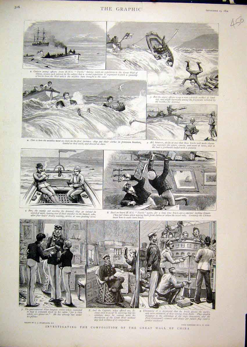 Print 1894 Investigating Great Wall China Ship Comedy Sketch 56Mar1 Old Original