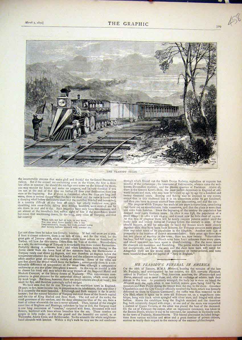 Print 1870 Peabody Train Railway Man Flag Country Scene 58Mar1 Old Original