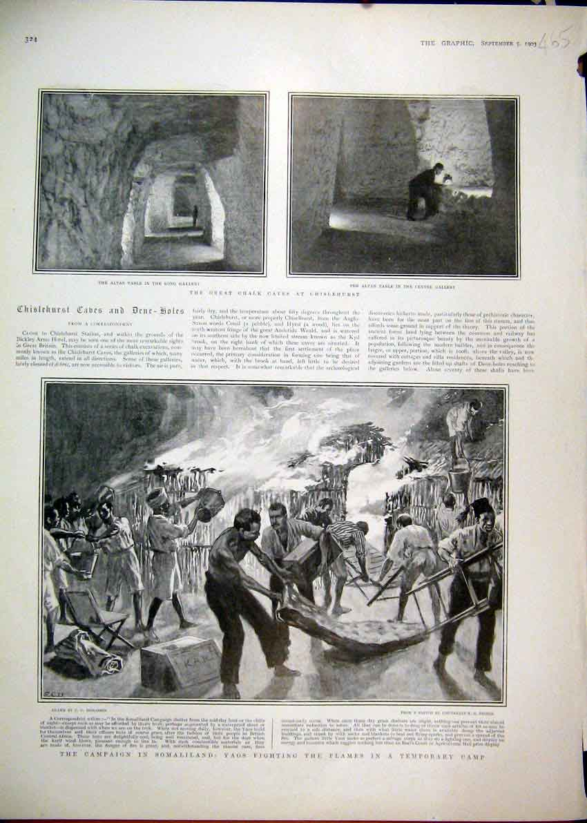 Print 1903 Campaign Somaliland Fire Fighting Camp Altar Table 65Mar1 Old Original