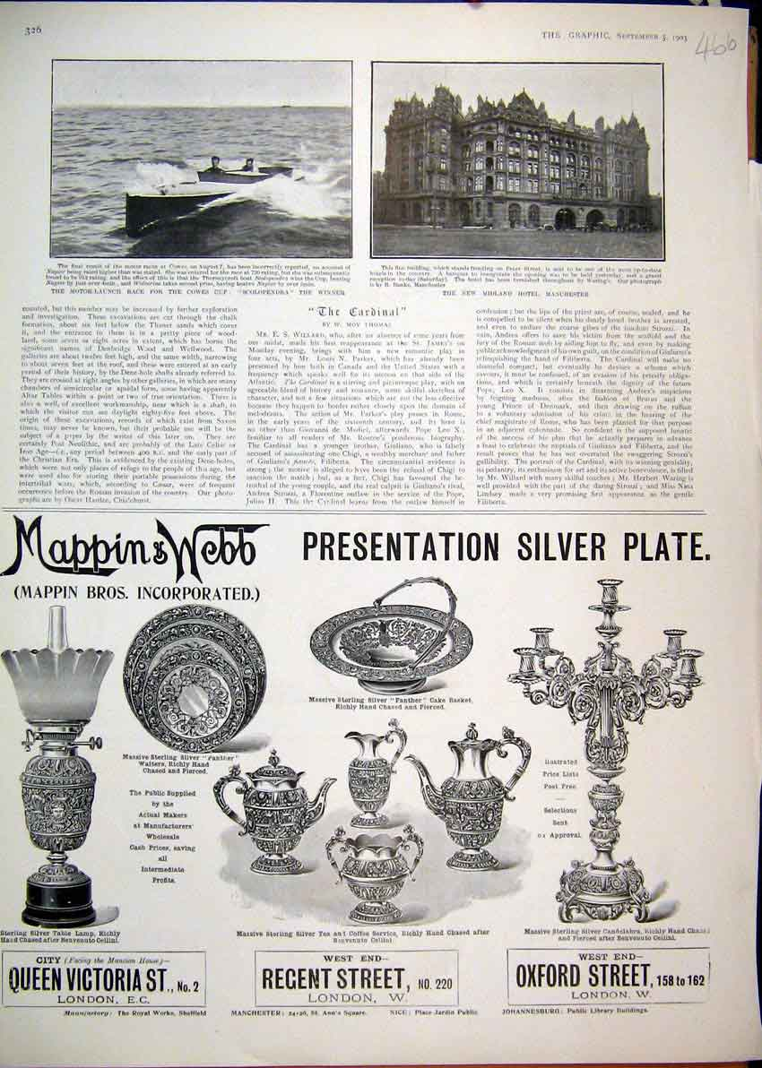 Print 1903 Advert Mappin Web Silver Plate Midland Hotel Cowes 66Mar1 Old Original