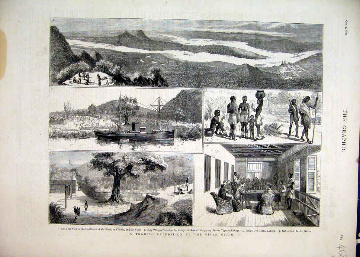 Print 1879 Trading Expedition River Niger Lukoga Biune Chadda 68Mar1 Old Original