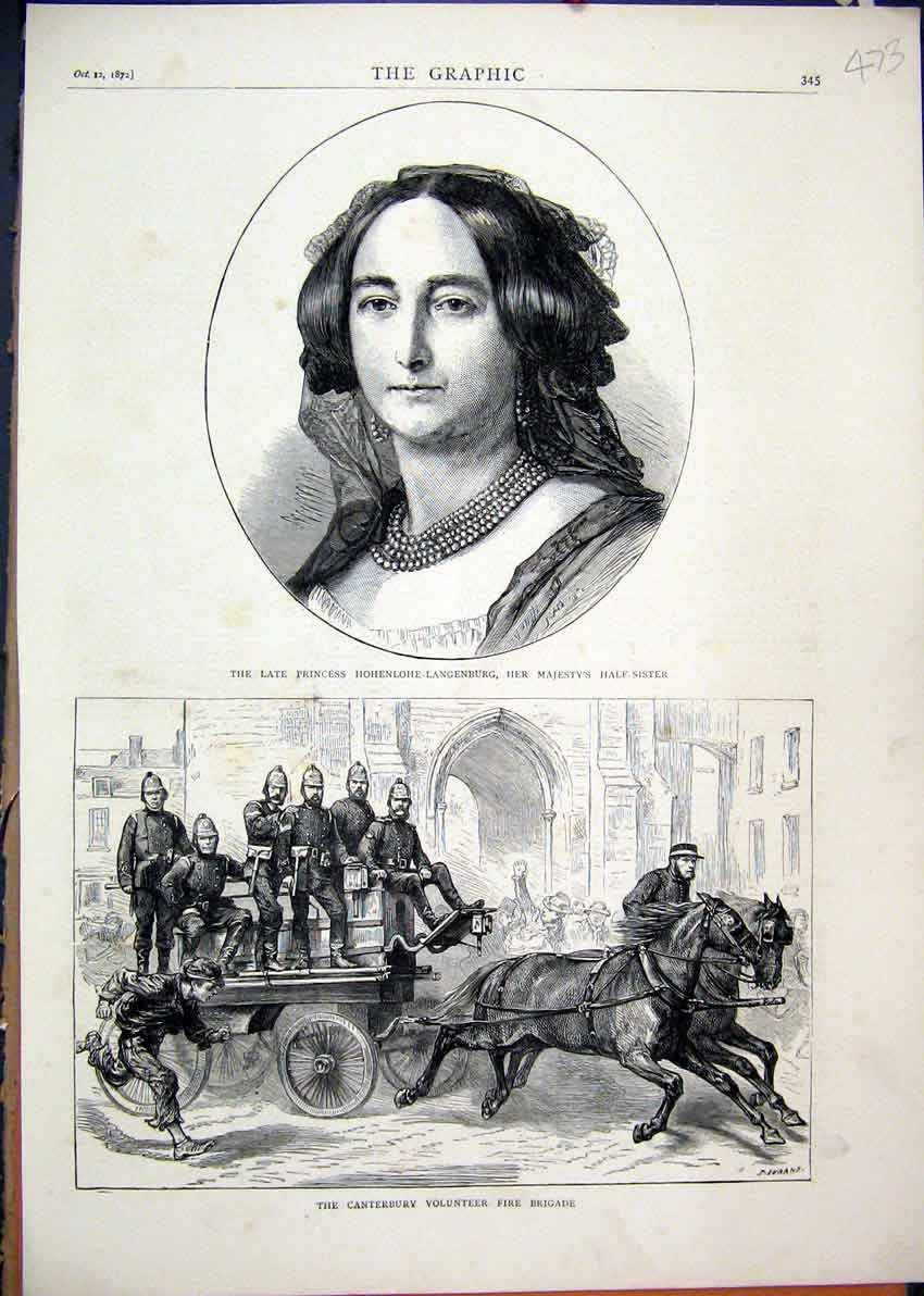 Print 1872 Portrait Princess Langenburg Fire Brigade Horses 73Mar1 Old Original