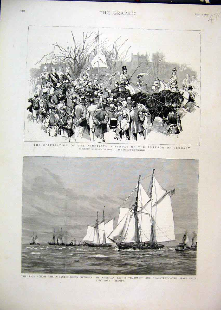 Print 1887 Birthday Emperor Germany Yachts Coronet Dauntless 74Mar1 Old Original