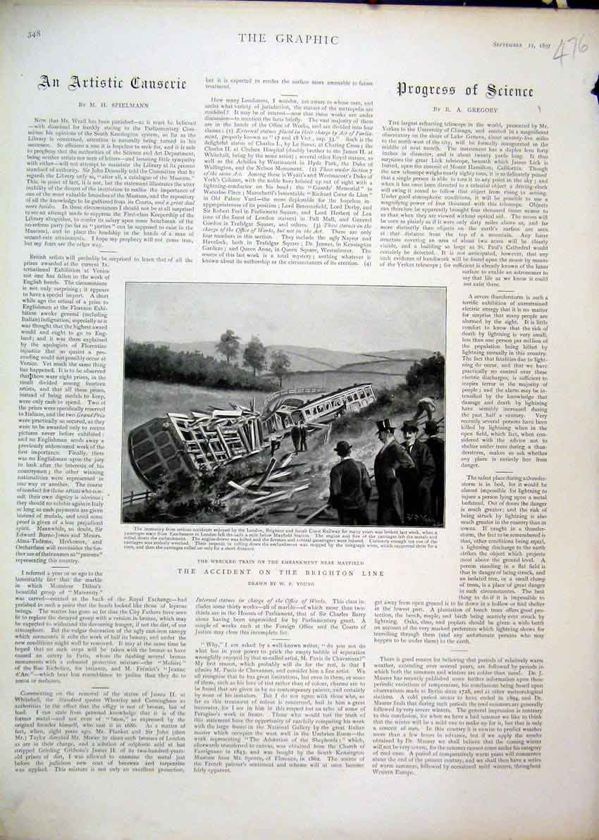 Print 1897 Train Accident Wrecked Mayfield Brighton Line 76Mar1 Old Original
