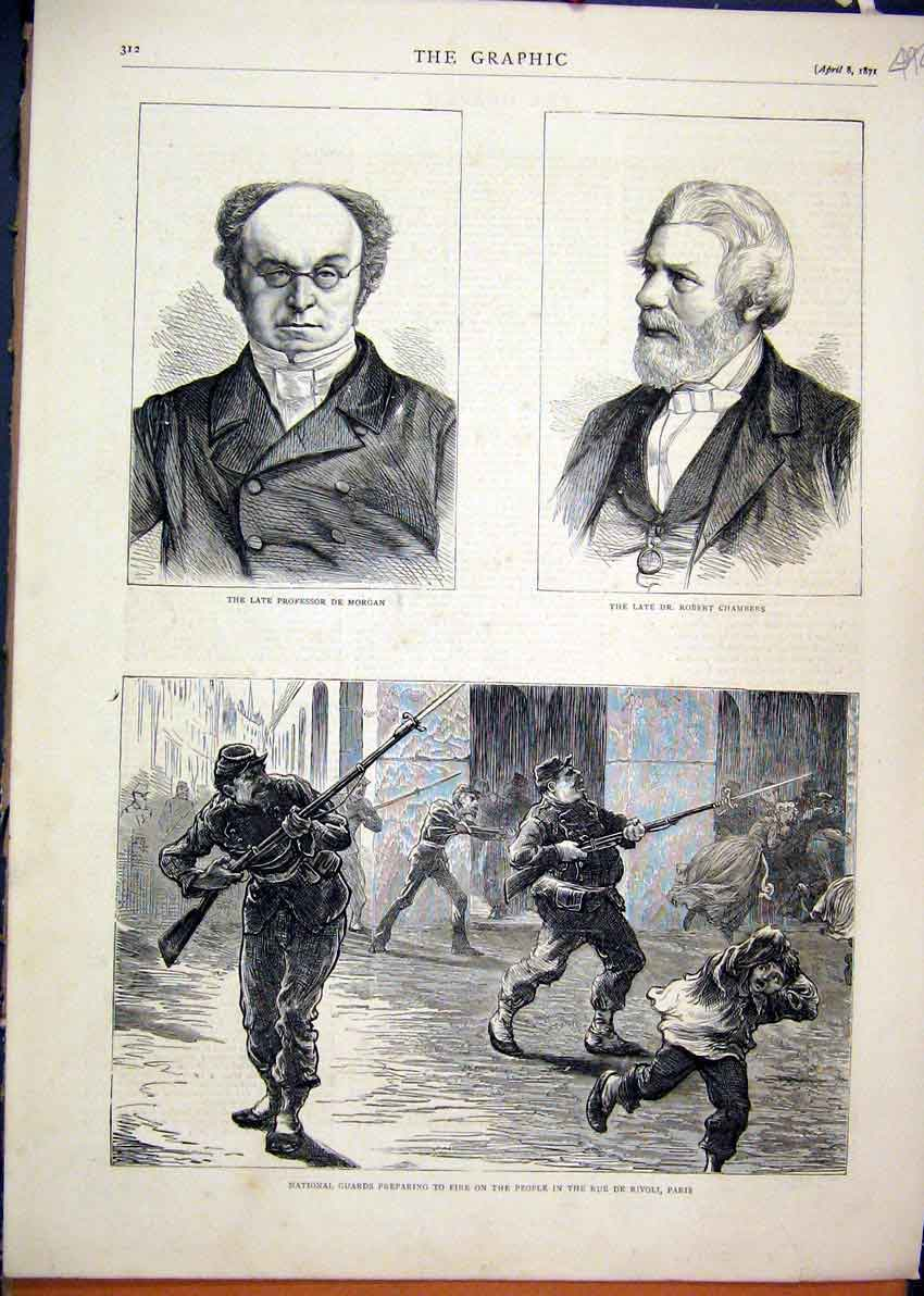 Print National Guards Firing Rue De Rivoli Paris Morgan 1871 92Mar1 Old Original