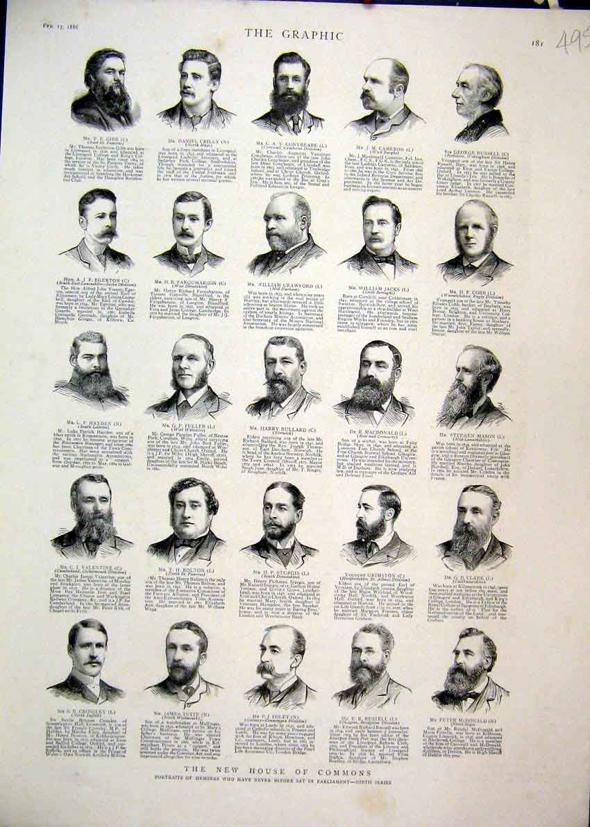 Print 1886 House Commons Portraits Members Ninth Series 95Mar1 Old Original
