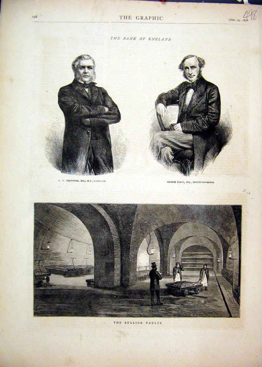 Print 1870 Bank England Bullion Vaults Crawford George Lyall 98Mar1 Old Original