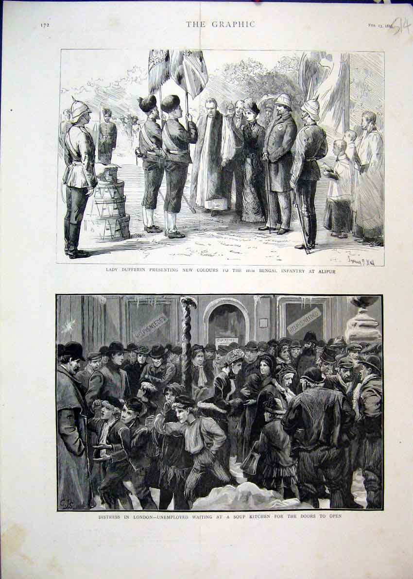 Print 1886 Lady Dufferin Bengal Infantry Soup Kitchen London 14Mar1 Old Original