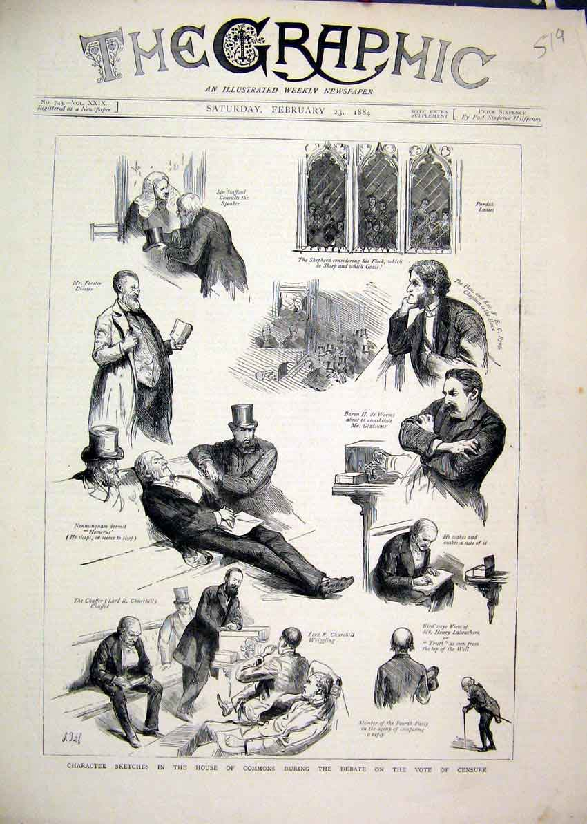 Print Sketches House Commons Debate Vote Censure Purdah 1884 19Mar1 Old Original