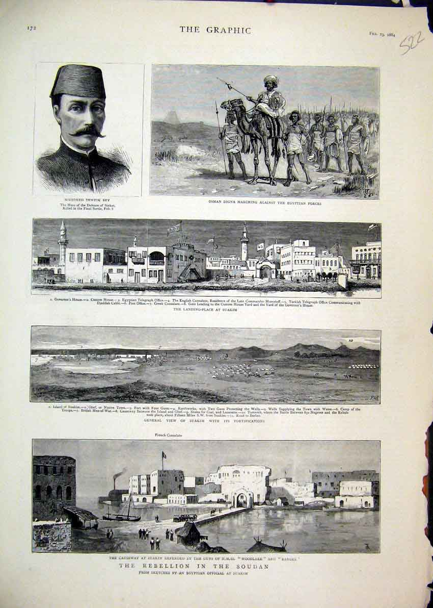 Print 1884 Rebellion Soudan Osman Digna Causeway Suakim Bey 22Mar1 Old Original