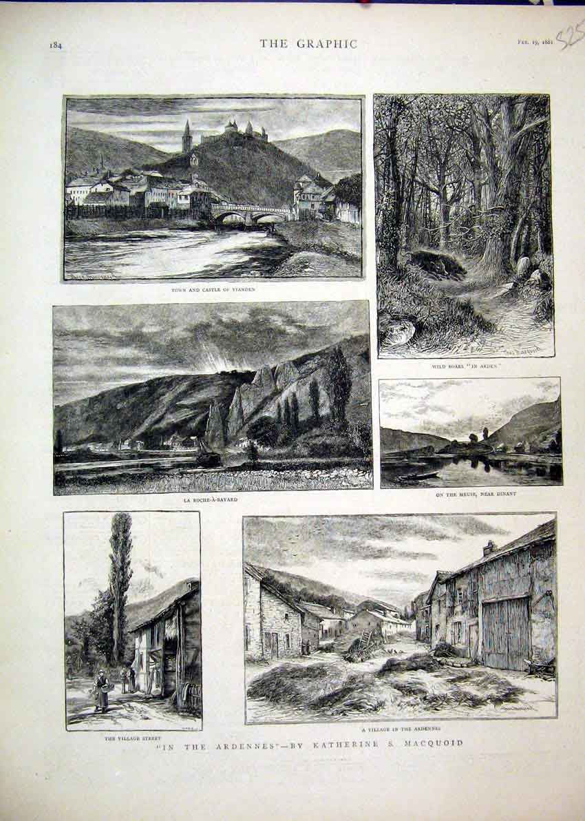 Print Ardennes 1881 Village Castle Vianden Wild Boars Meuse 25Mar1 Old Original