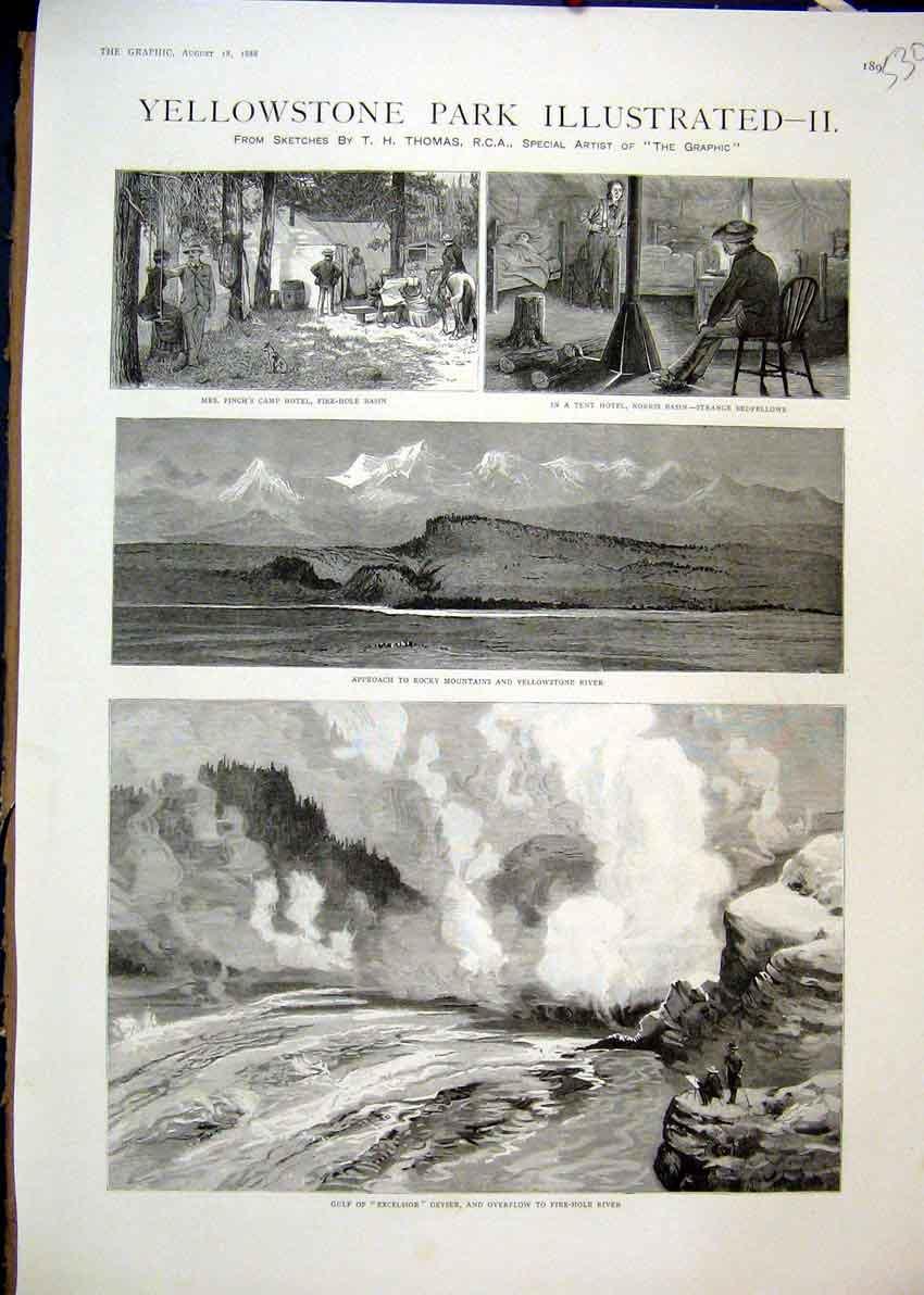Print 1888 Gulf Excelsior Geyser Rocky Mountains Tent Hotel 30Mar1 Old Original