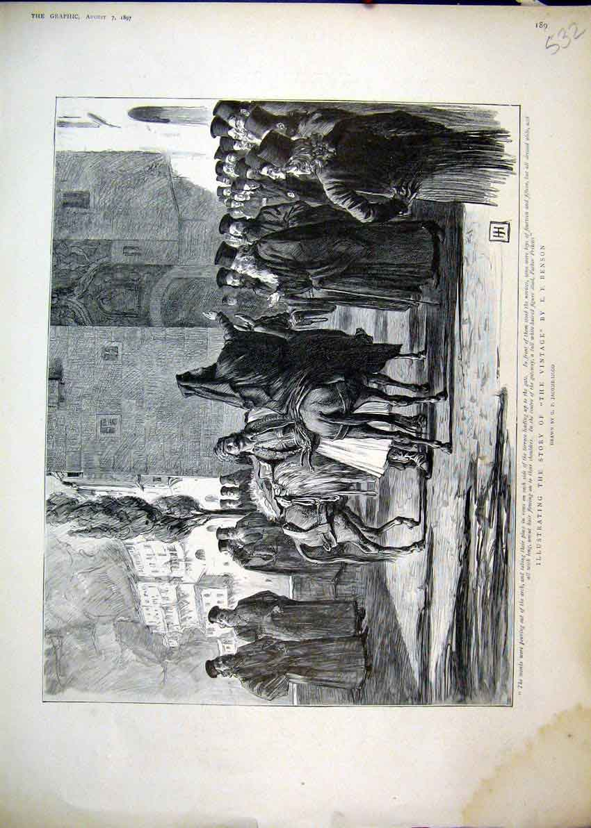 Print Story Benson 1897 Monks Father Priketes Horse 32Mar1 Old Original