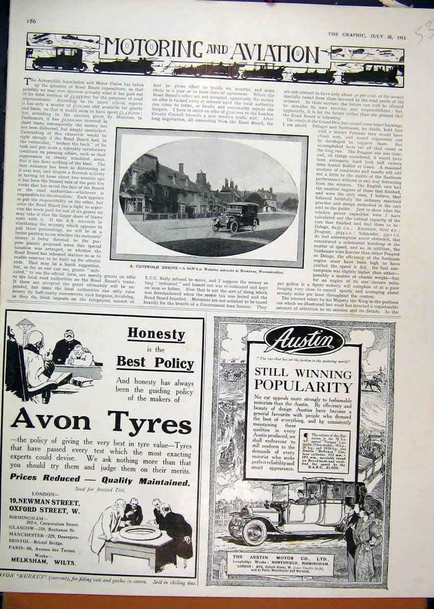 Print Advert Motoring Aviation 1913 Avon Tyres Austin Car 33Mar1 Old Original