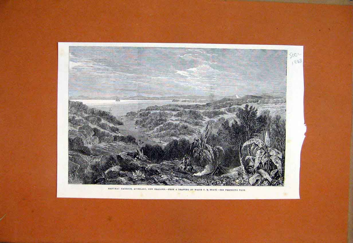 Print 1863 Manukau Harbour Auckland New Zealand Country 00Lmar1 Old Original