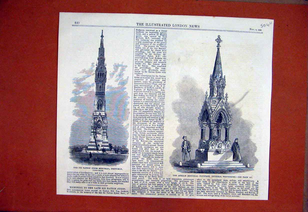 Print Athole Memorial Fountain Perthshire 1866 Tatton Sykes 04Umar1 Old Original