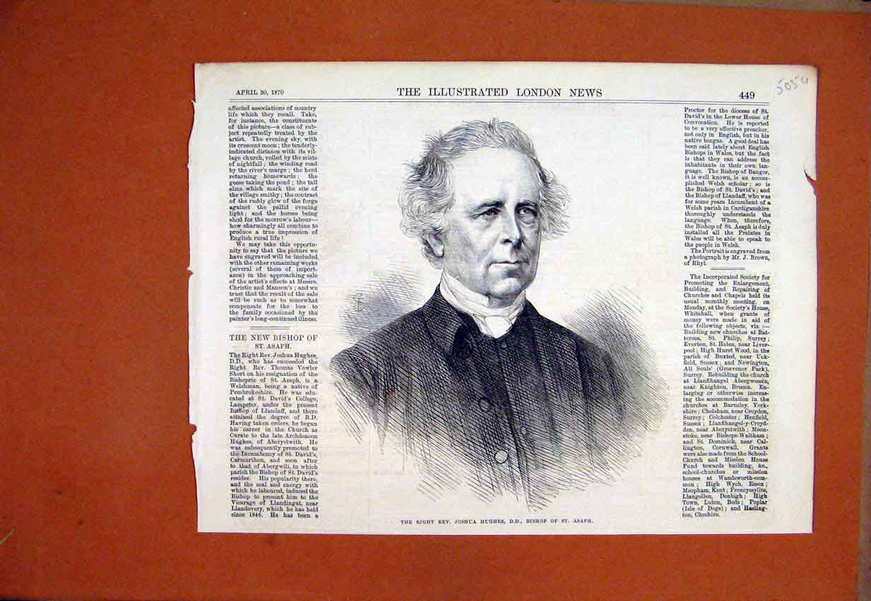 Print 1870 Portrait Right Rev. Joshua Hughes Bishop Asaph 05Umar1 Old Original