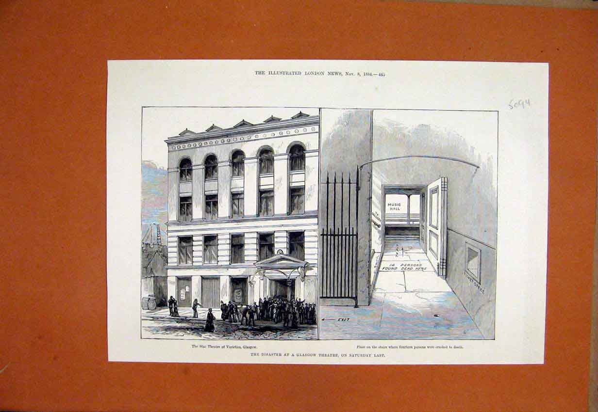 Print 1884 Disaster Glasgow Star Theatre People Crushed Dead 09Umar1 Old Original