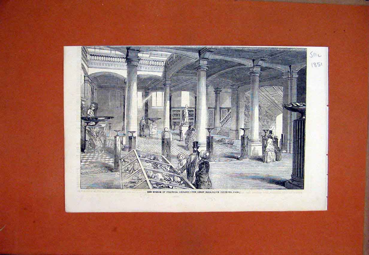 Print 1851 Museum Practical Geology Great Hall 11Lmar1 Old Original