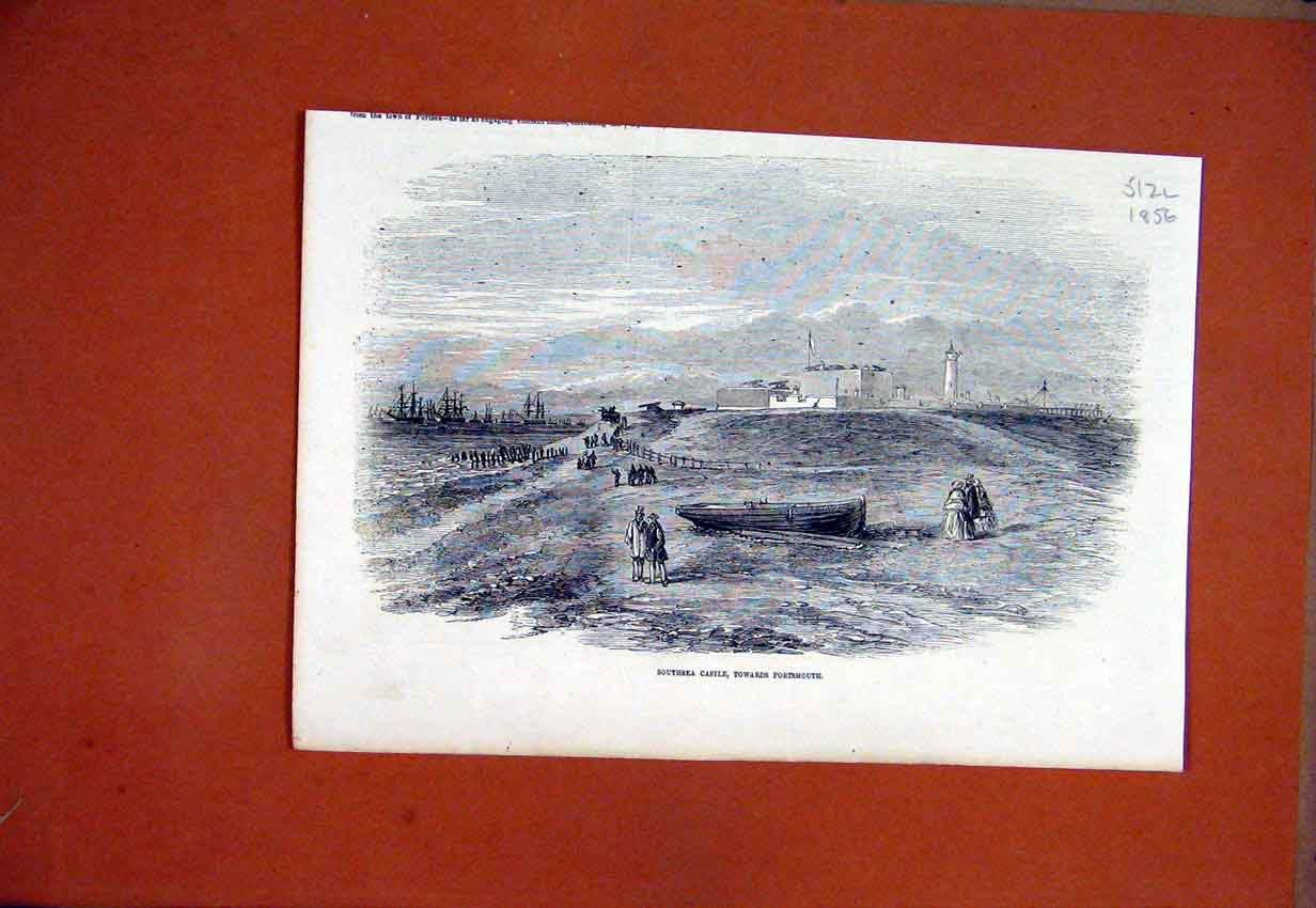Print 1856 Southsea Castle Portsmouth Ship Lighthouse Sea 12Lmar1 Old Original