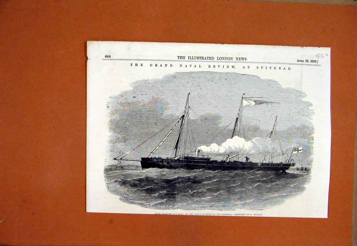 Print 1856 Gun Boat Grand Naval Review Spithead Flotilla 12Umar1 Old Original