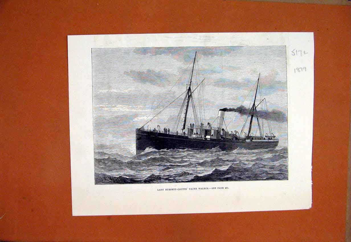 Print 1879 Lady Burdett-Coutts Yacht Walrus Ship 17Lmar1 Old Original