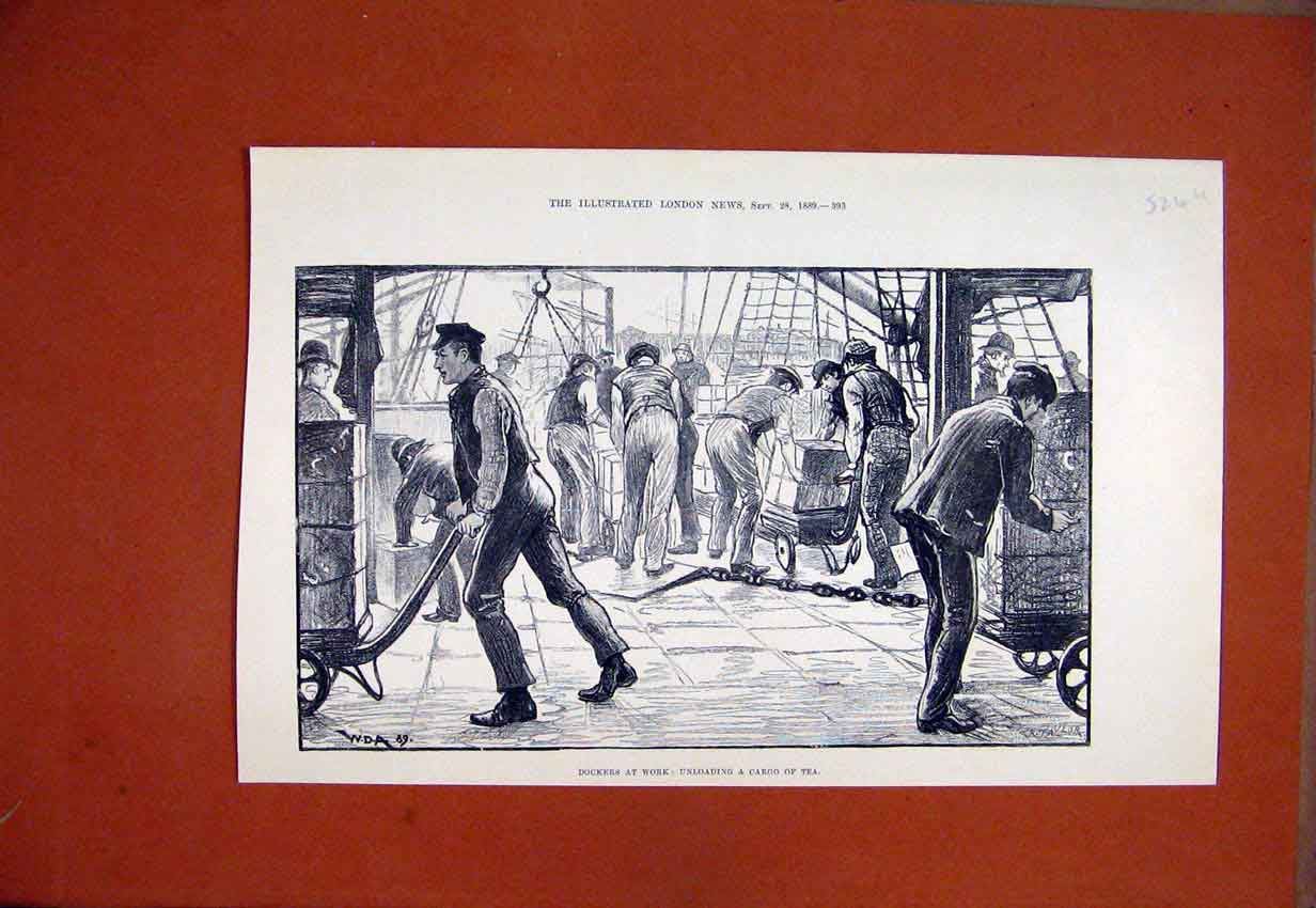 Print Dockers Work Unloading Cargo Tea 1889 Ship Sketch 24Umar1 Old Original