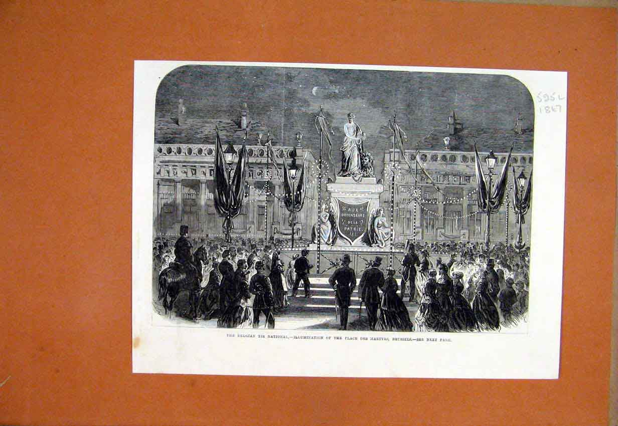 Print 1867 Belgian Tir National Illumination Place Martyrs 25Lmar1 Old Original