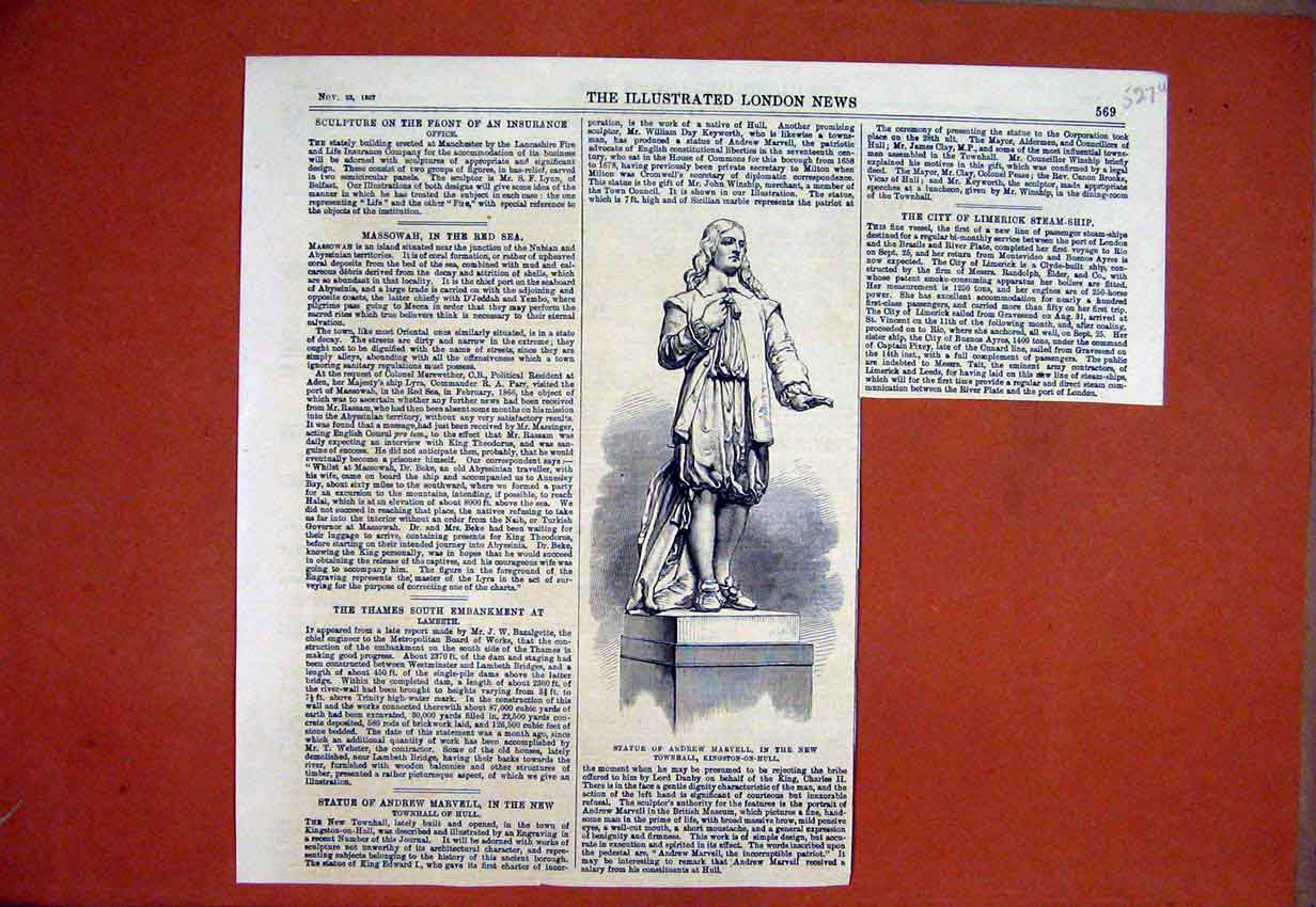 Print 1867 Statue Andrew Maevell New Townhall Kingston Hull 27Smar1 Old Original