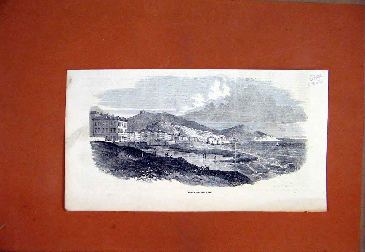 Print 1854 Scene Nice France West Buildings Fishing 30Lmar1 Old Original