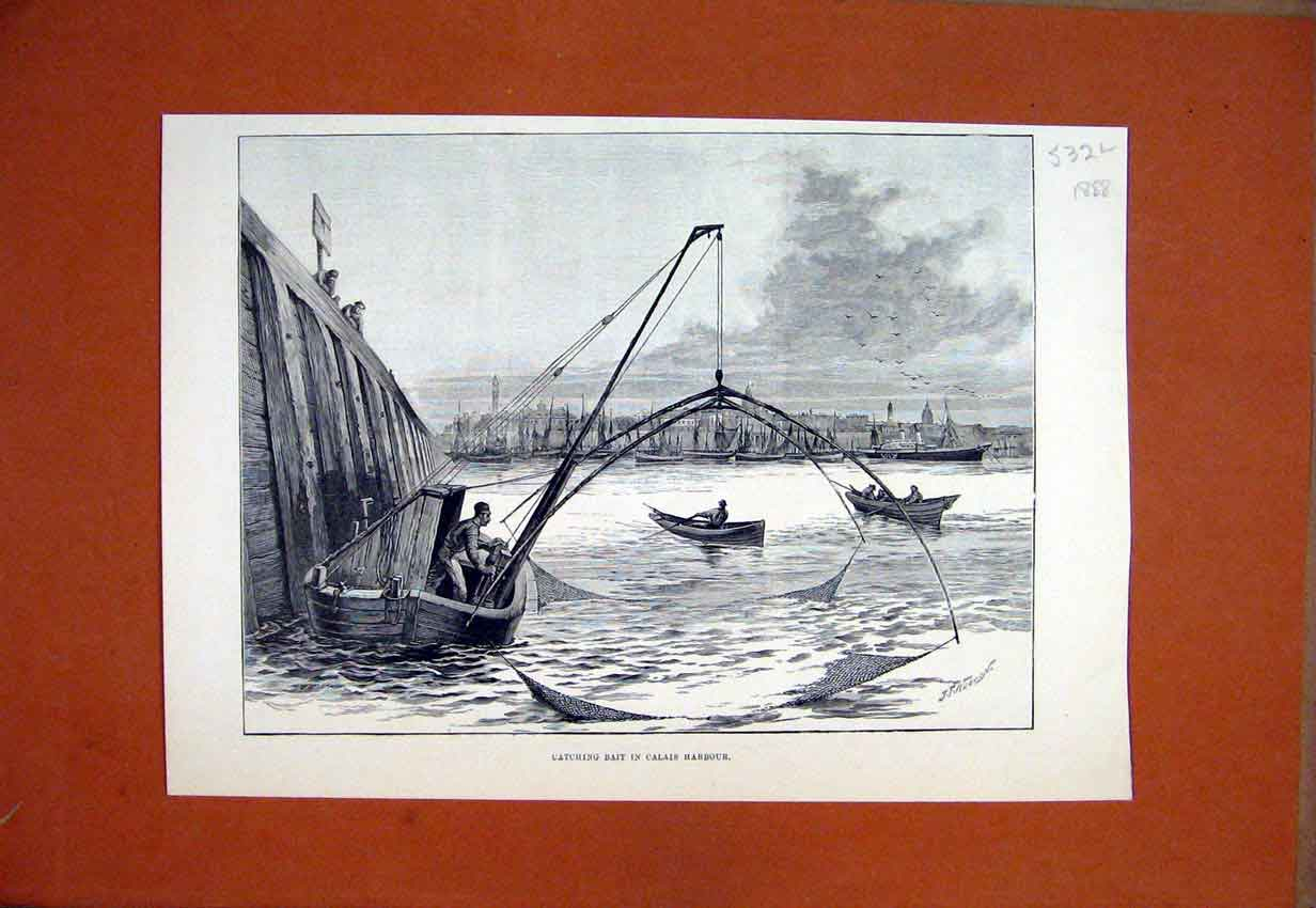 Print 1888 Catching Bait Calais Harbour Fishing Boats Sea 32Lmar1 Old Original