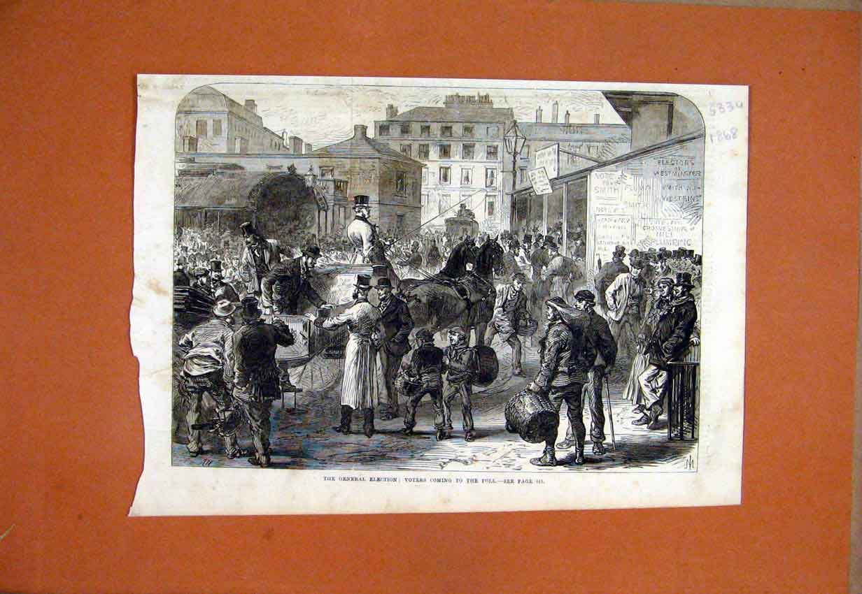Print General Election Voters Coming Poll Horse Street 1868 33Umar1 Old Original