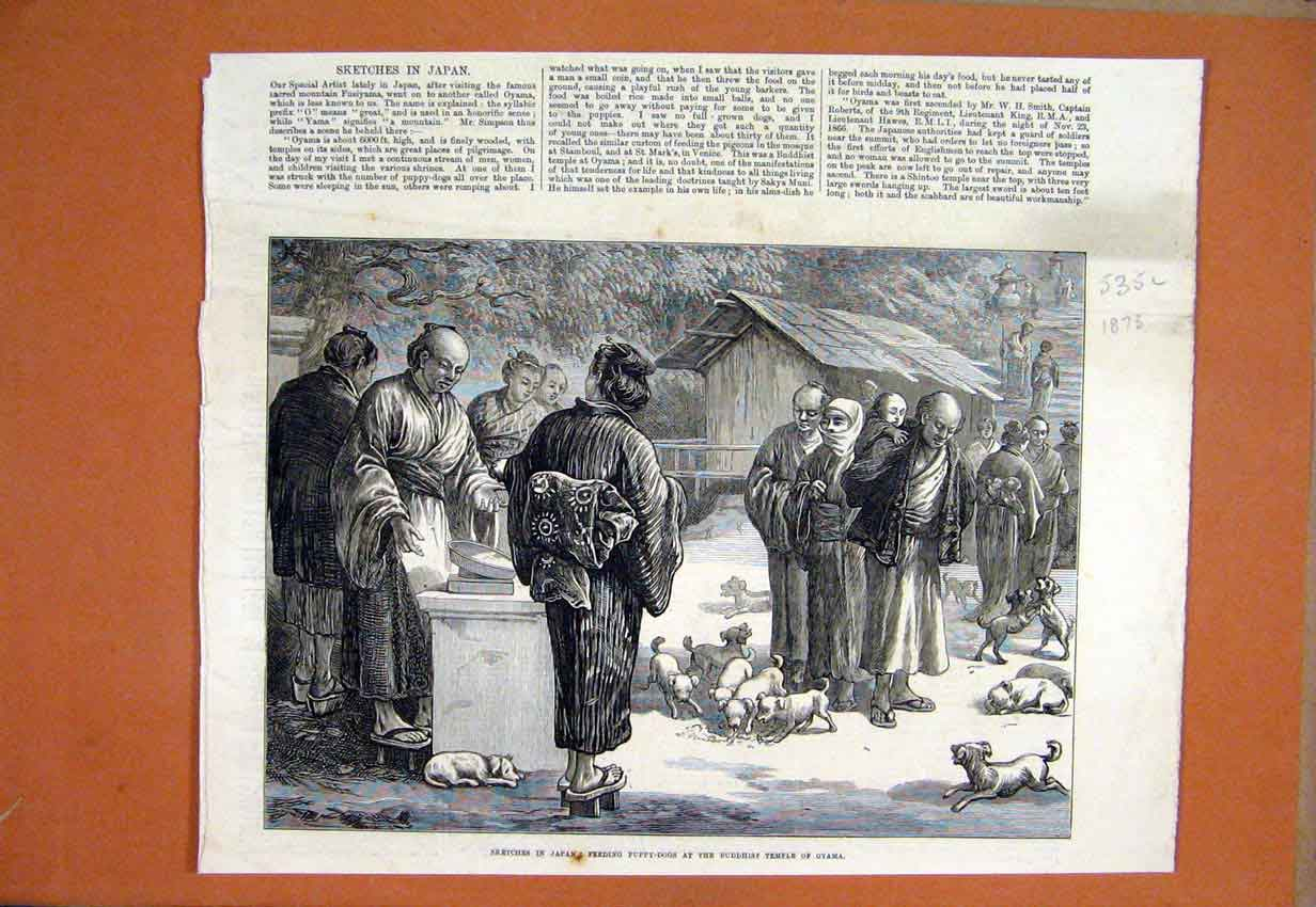 Print 1873 Sketches Japan Puppy Dogs Buddhist Temple Oyama 35Lmar1 Old Original