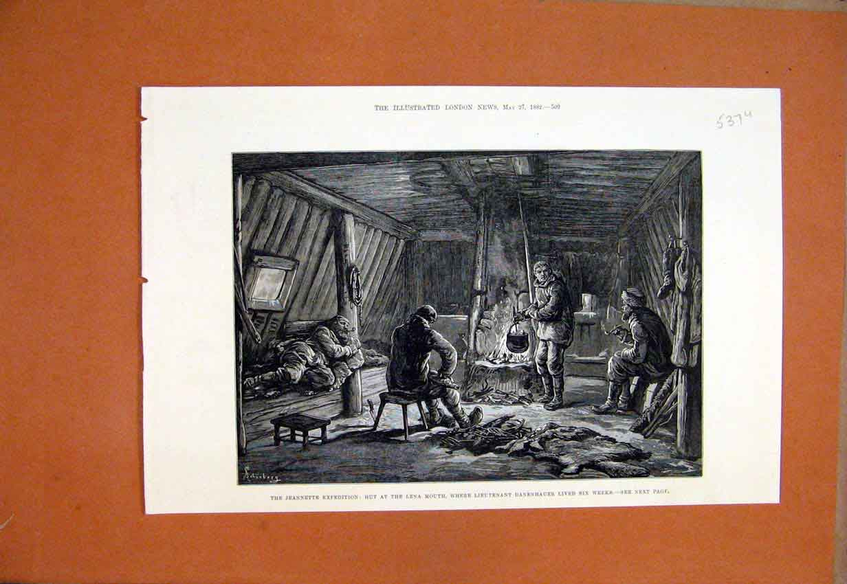 Print Jeannette Expedition 1882 Hut Lena Mouth Danehauer 37Umar1 Old Original