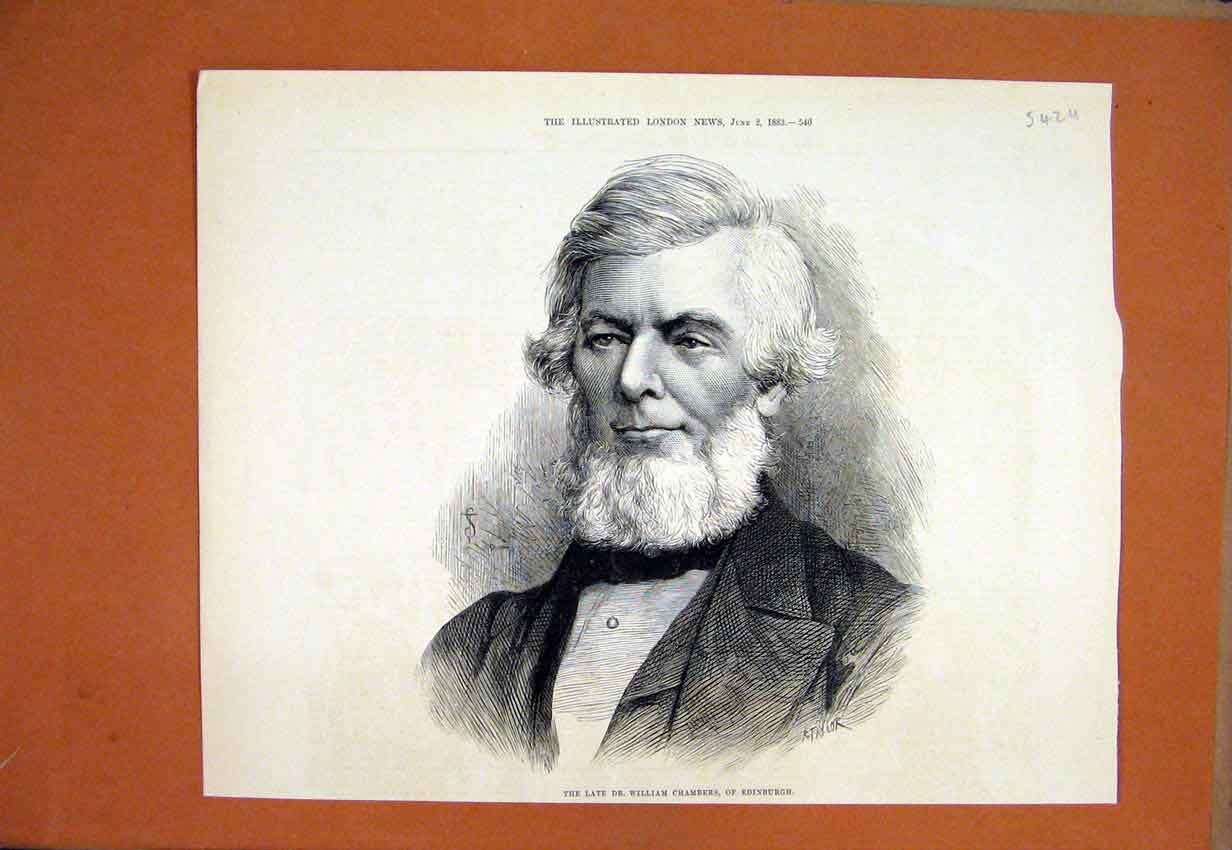Print Portrait Late William Chambers Edinburgh 1883 42Umar1 Old Original
