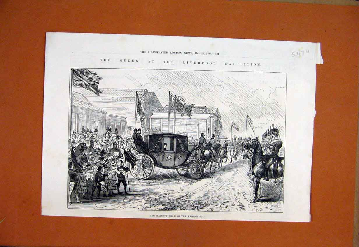 Print Majesty Queen Liverpool Exhibition 1886 Horse Carriage 47Umar1 Old Original