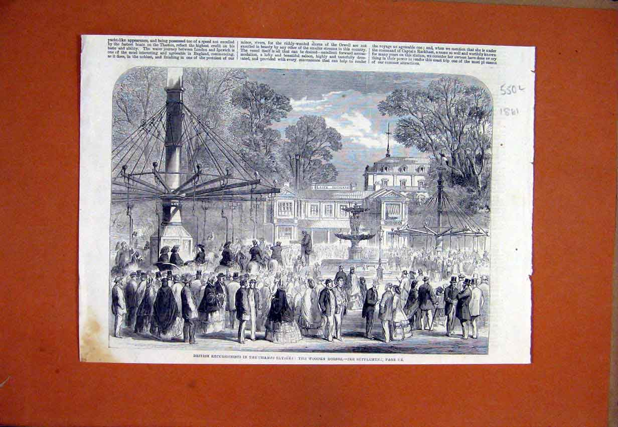 Print 1861 British Champs Elysees Wooden Horses 50Lmar1 Old Original