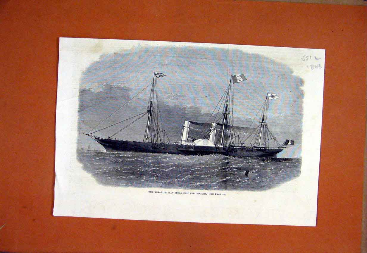 Print 1863 Royal Italian Steam-Ship Esploratore Sea Scene 51Lmar1 Old Original
