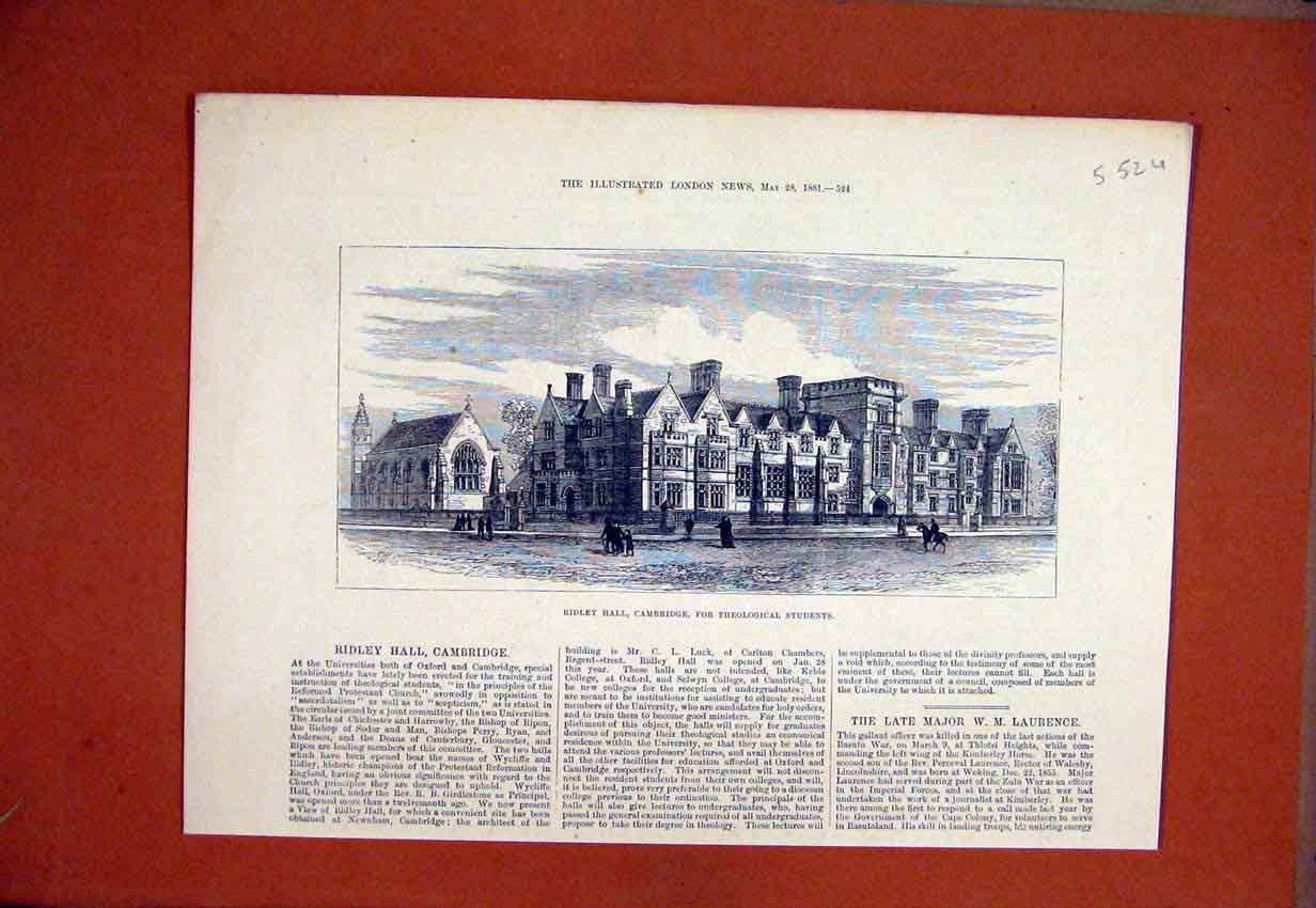 Print 1881 Ridley Hall Cambridge Theological Students 52Umar1 Old Original