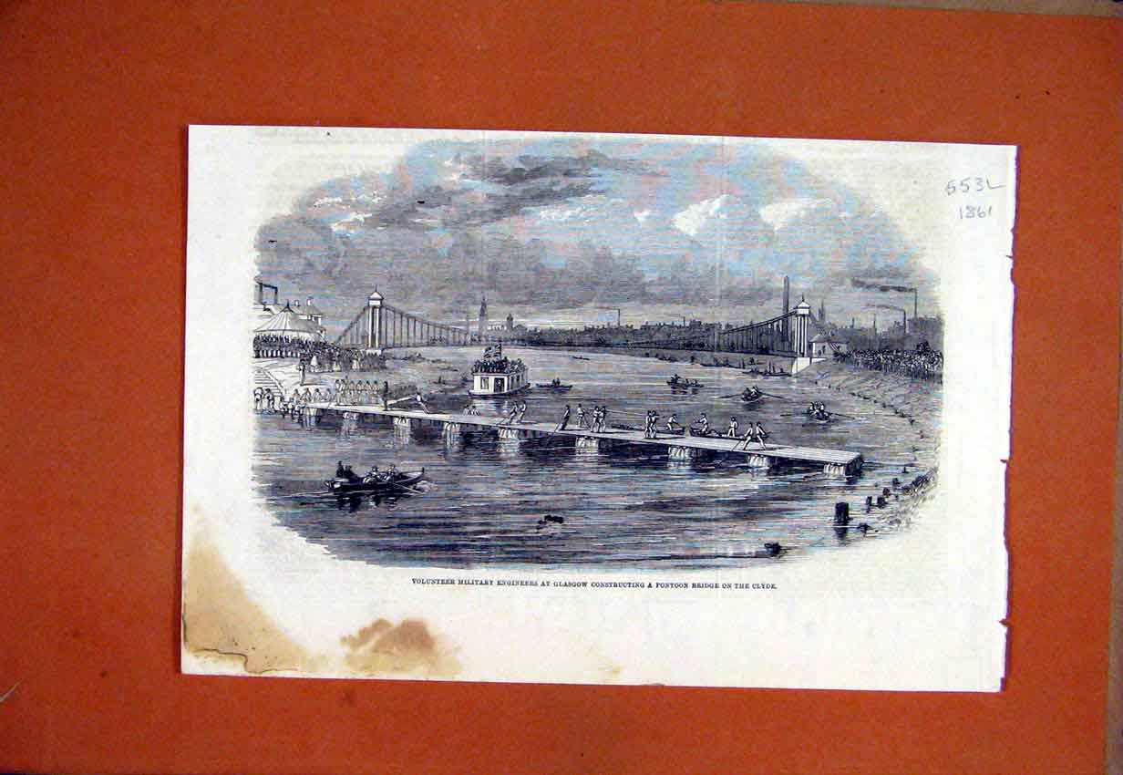 Print 1861 Military Engineers Glasgow Pontoon Bridge Clyde 53Lmar1 Old Original