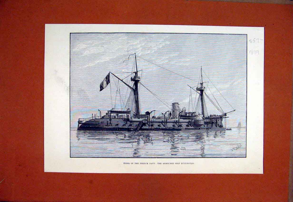 Print 1889 Types French Navy Armoured Ship Duguesclin Sea 57Lmar1 Old Original