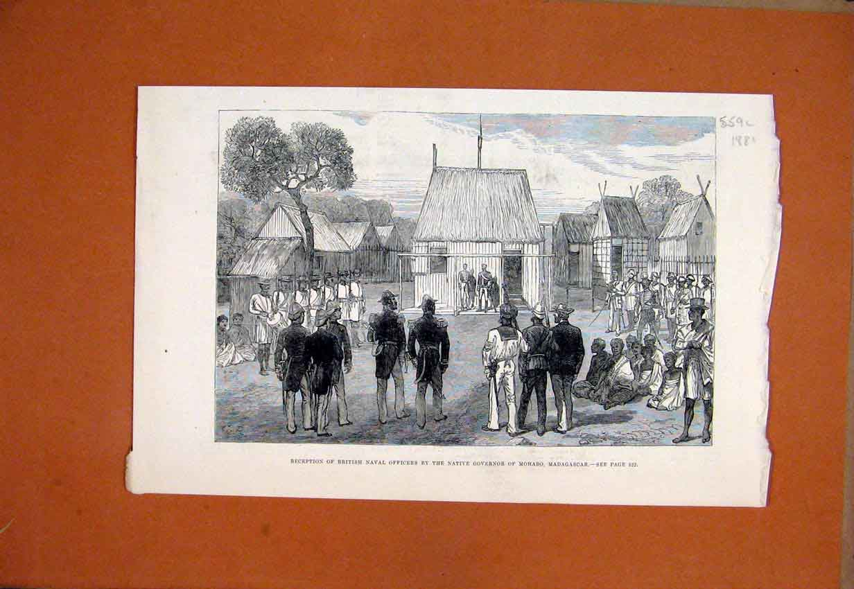 Print Reception British Naval Officers Mohabo Madagascar 1881 59Smar1 Old Original