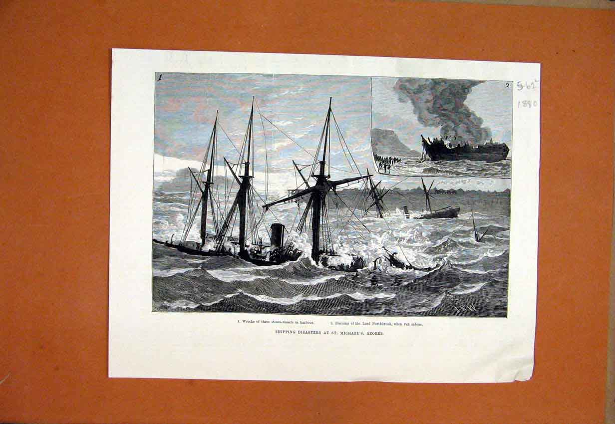 Print 1880 Shipping Disaster St. Michaels Azores Northbrook 62Lmar1 Old Original